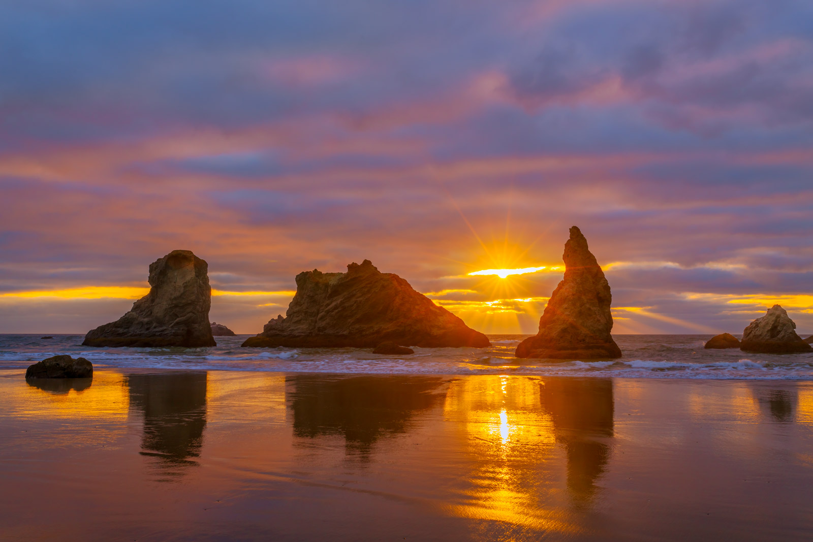Oregon, Bandon, Beach, Sunset, Pacific, Coast, photo