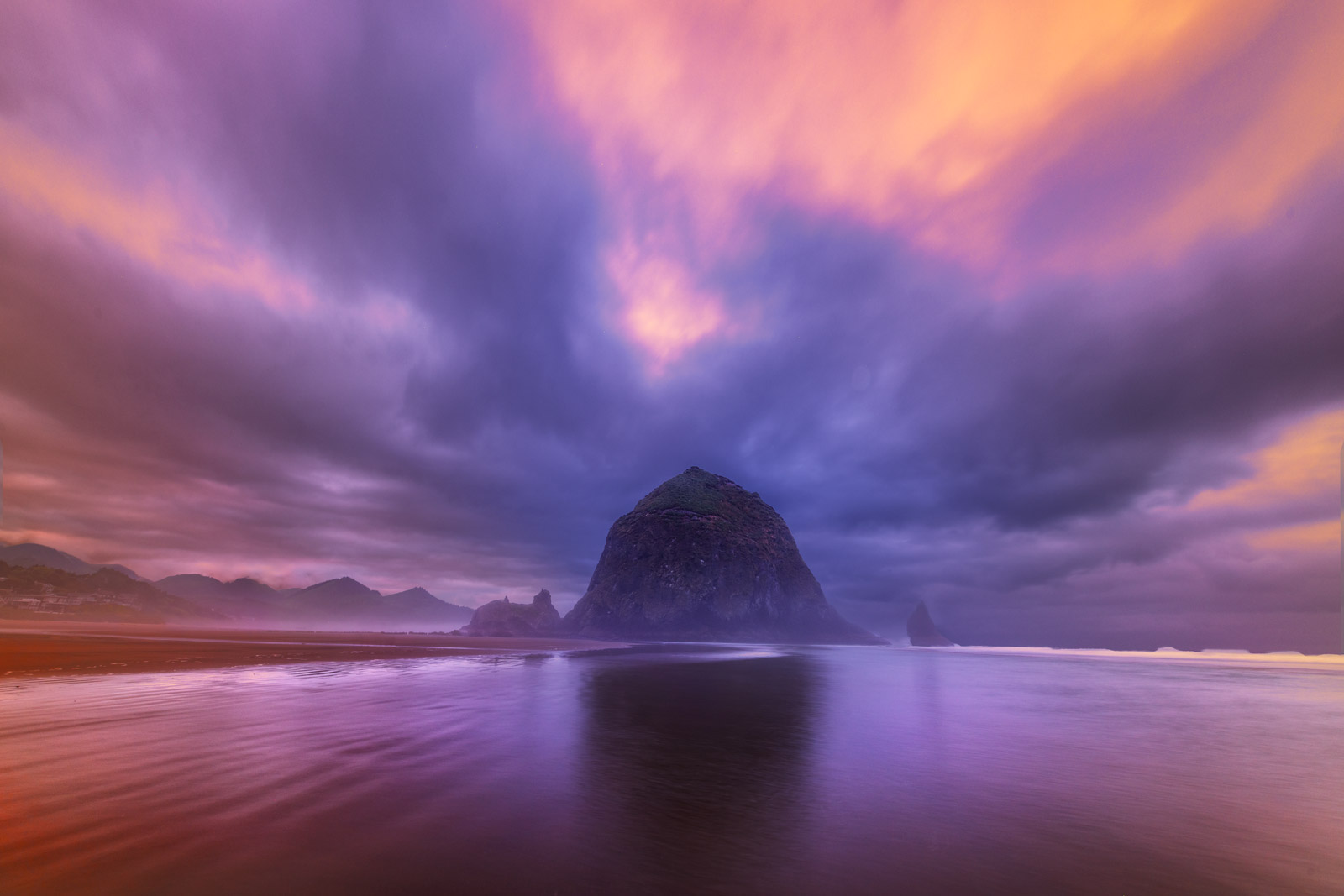 Oregon, Cannon, Beach, Haystack, Rock, Sunrise, photo