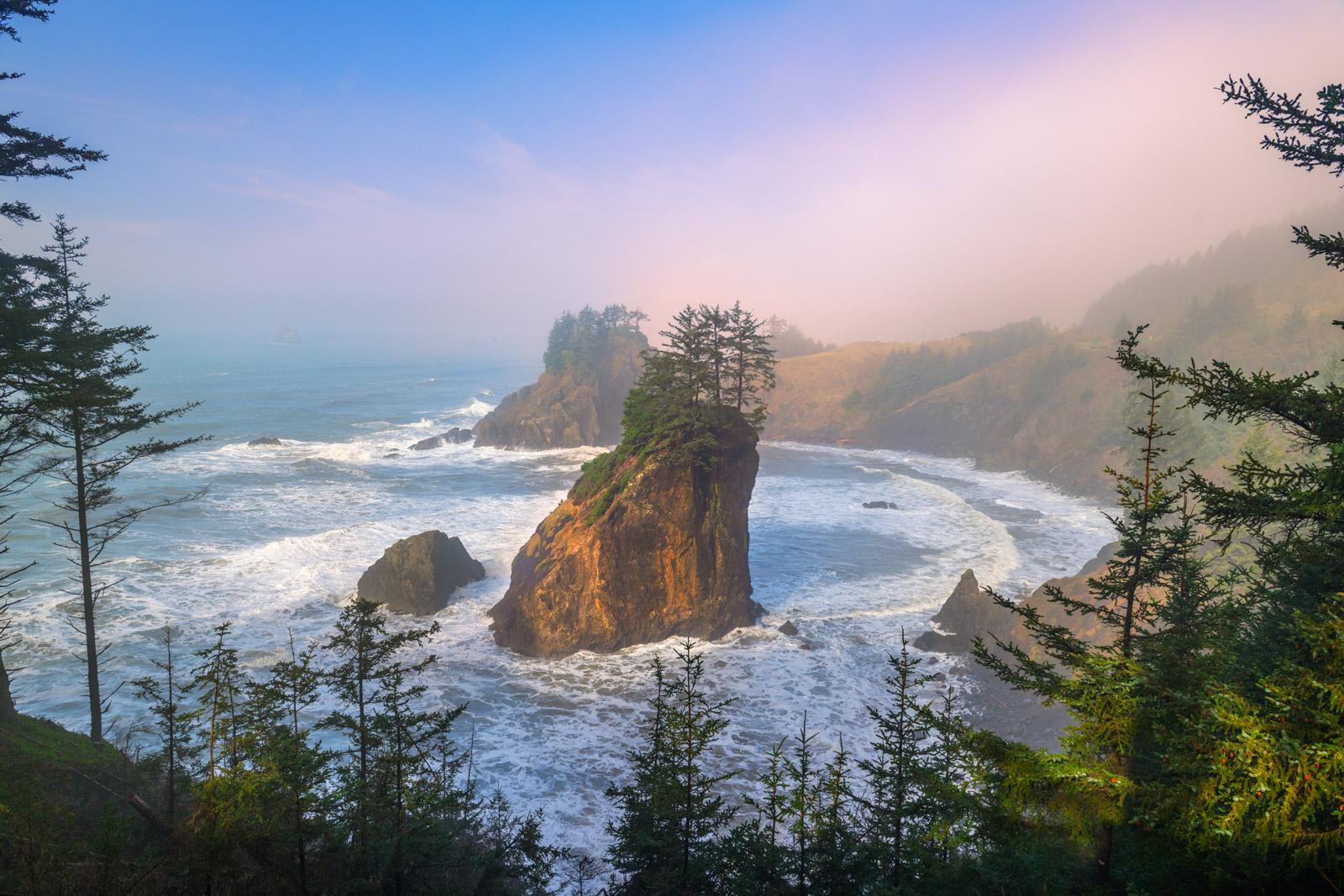 Oregon, Oregon Coast, Sunrise, Sea Stack, Trees, Arch Rock, Samuel Boardman,