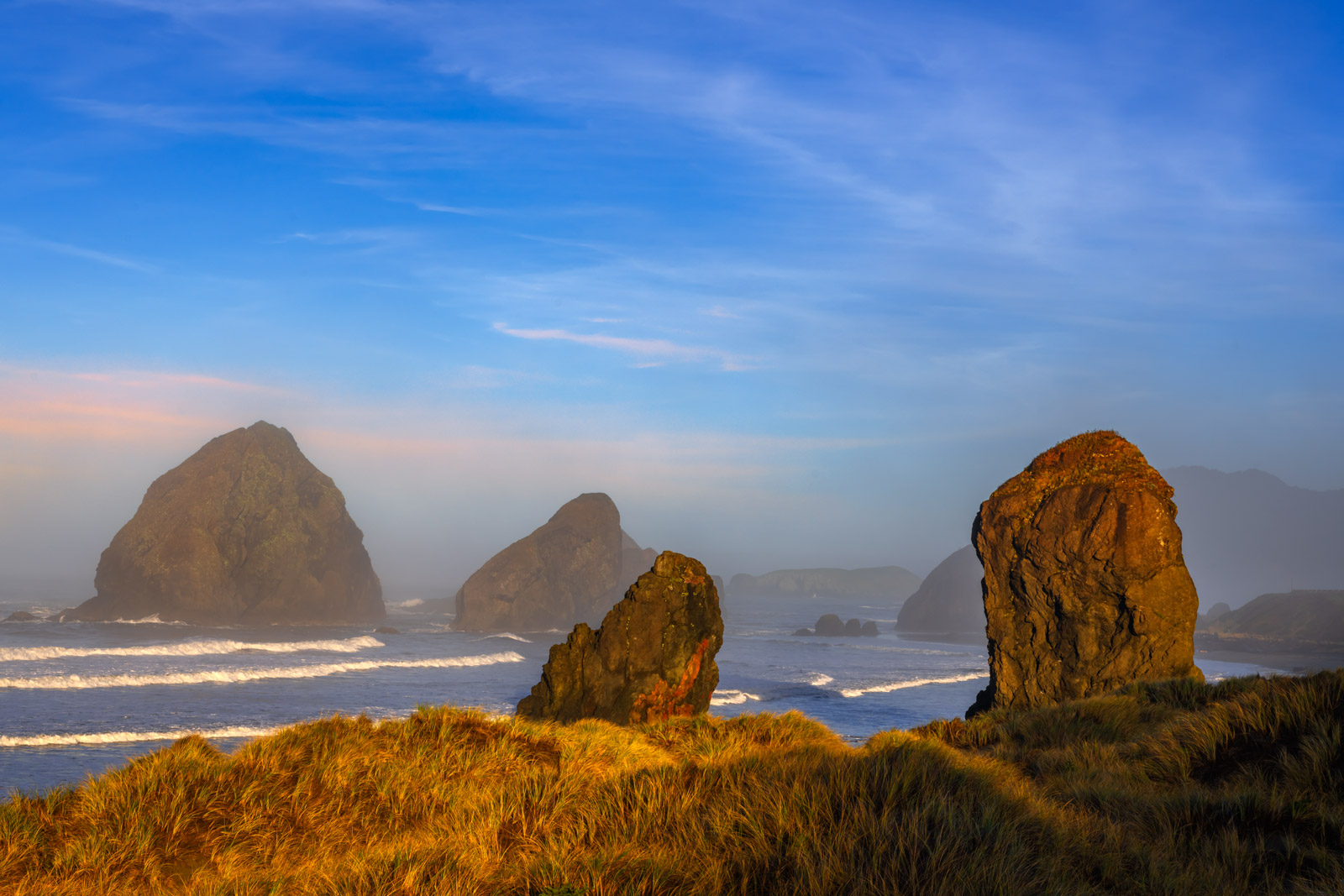 A Limited Edition, Fine Art photograph of the sea stacks in the early morning at Gold Beach in Oregon.  Available as a Fine Art...