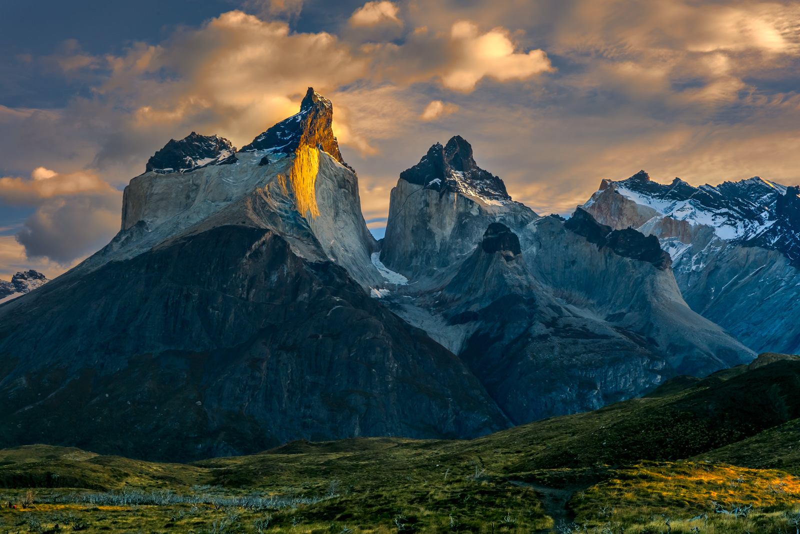 A Limited Edition, Fine Art photograph of the strong, inspiring mountains at sunrise in Torres del Paine in Patagonia.  Available...
