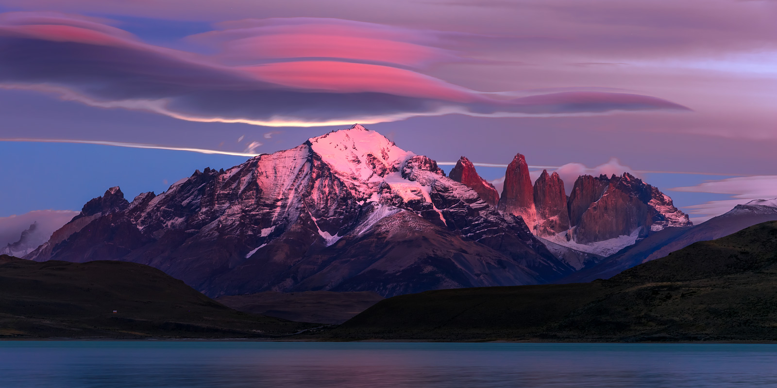 A Limited Edition, Fine Art photograph of the mountains in all their glory during an amazing morning sunrise at Torres del Paine...