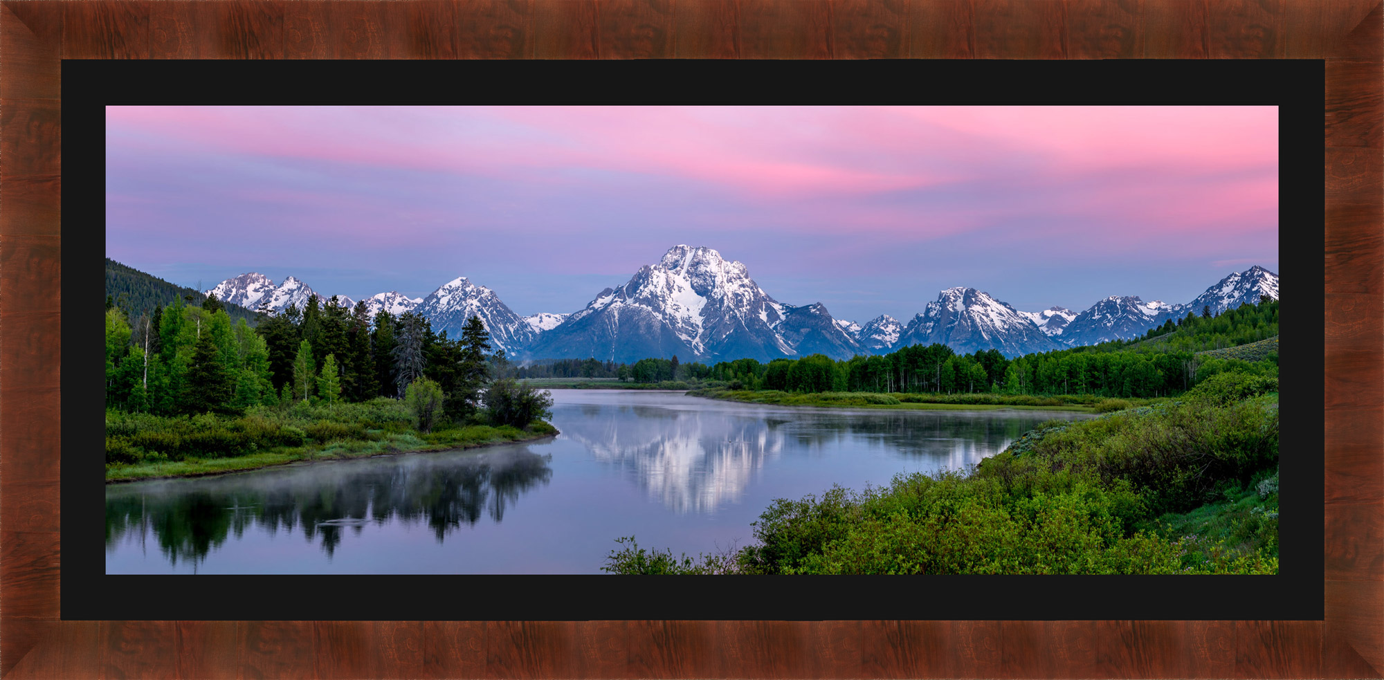 Framed photo of Oxbow Bend with black mat