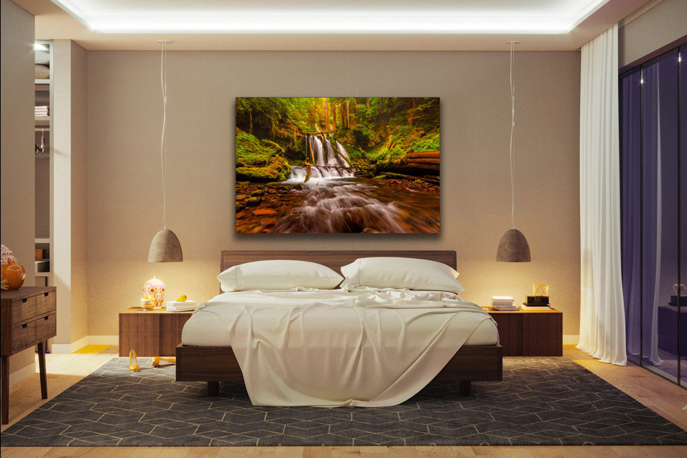 Preview of waterfall photo hung in bedroom