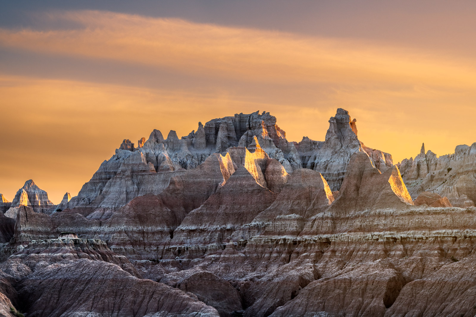 South Dakota, Badlands, National Park, Sunrise, Rock, Formation, Norbeck, Pass, Light
