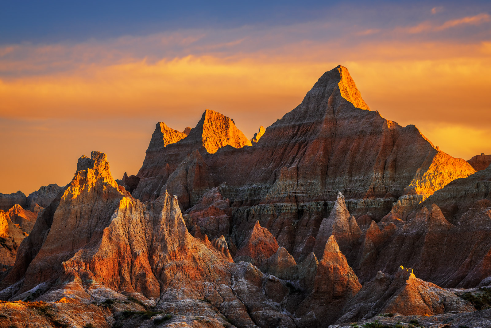 South Dakota, Badlands, Sunrise, Norbeck, Pass, Rock, Formation