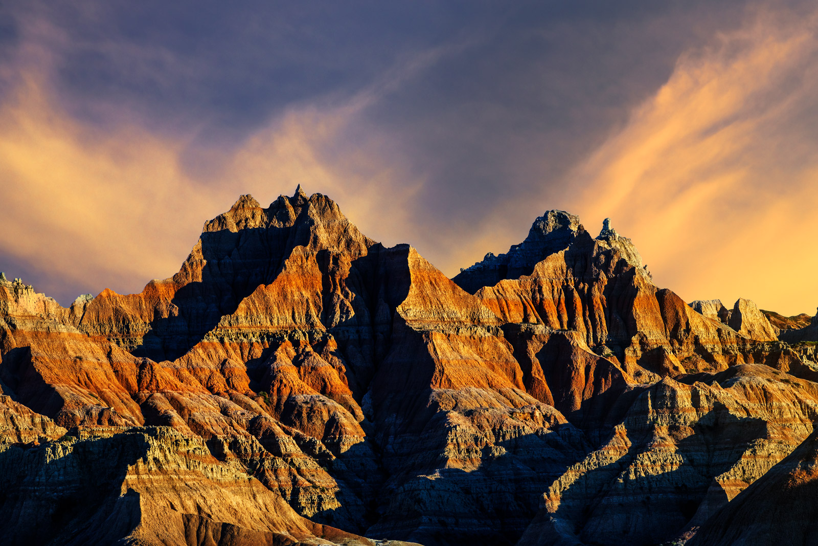 South Dakota, Badlands, National Park, Sunrise, Norbeck, Pass, Rock, Formation