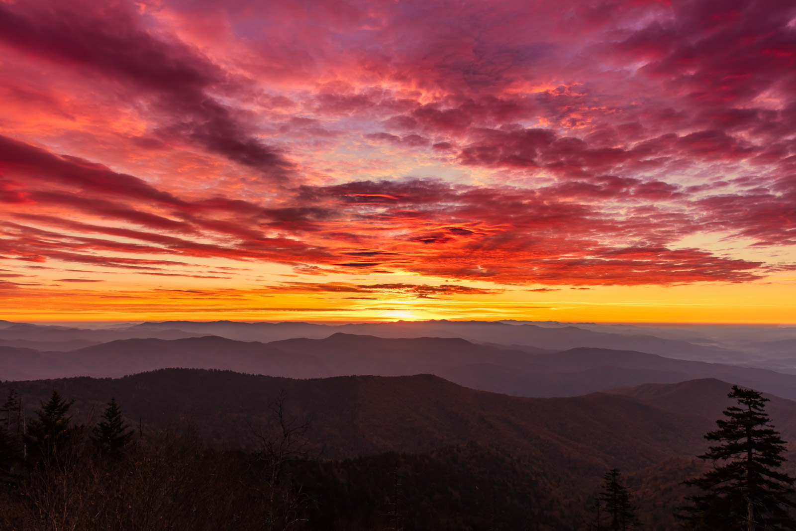 Tennessee, Smoky Mountains, Clingmans Dome, Sunset