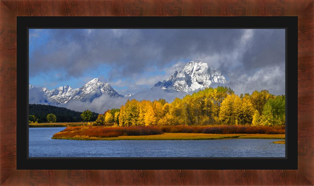 Framed Landscape Photo of Grand Tetons with black mat
