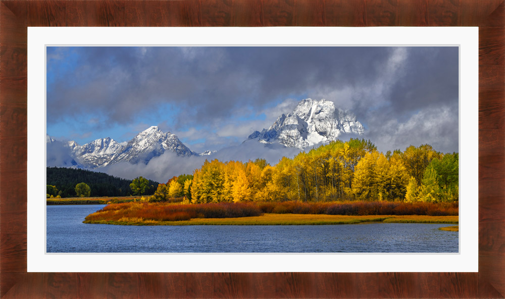 Framed Landscape photo of Grand Tetons with white may