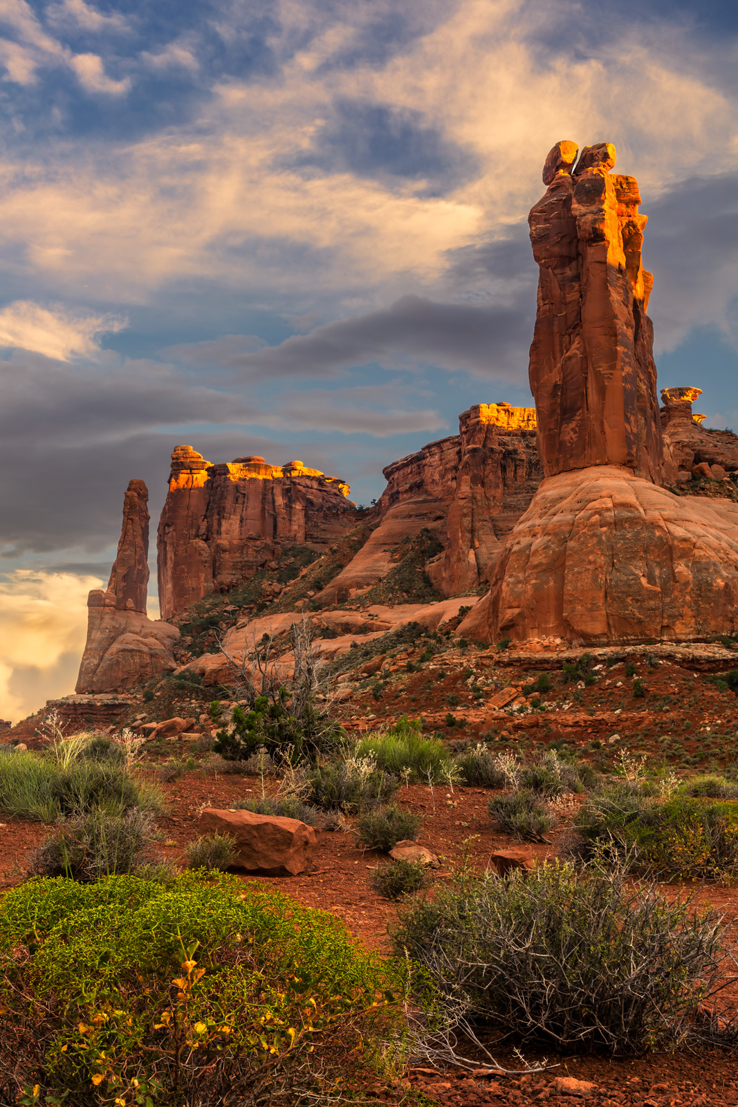 A Limited Edition, Fine Art photograph of soft, sunset color over an impressive Courthouse Tower in Arches National Park in Utah...