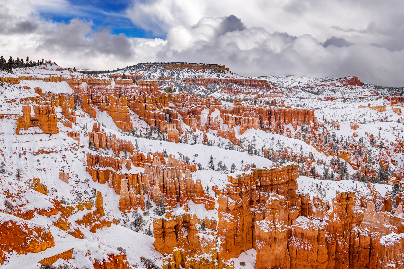 A Limited Edition, Fine Art photograph of Bryce Canyon with a fresh snowfall on the red rock hoodoos after a full day and night...