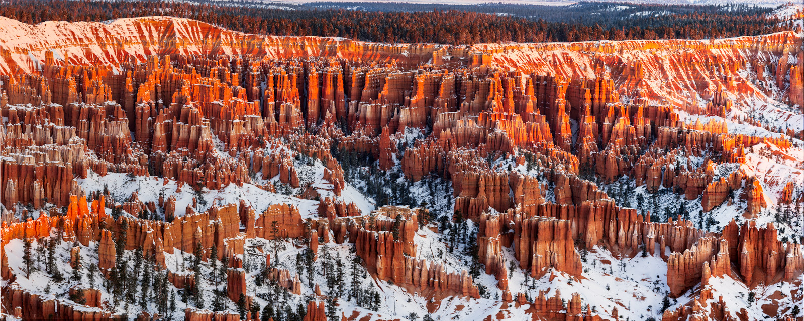 A Limited Edition, Fine Art photograph of the warm sunset light on the snow covered  hoodoos at Bryce Canyon National Park....