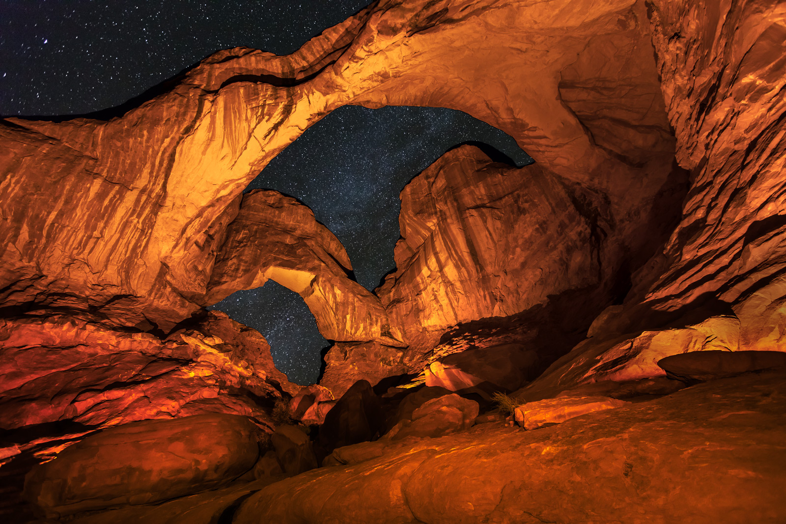 Utah, Arches, National Park, double arch, milky way