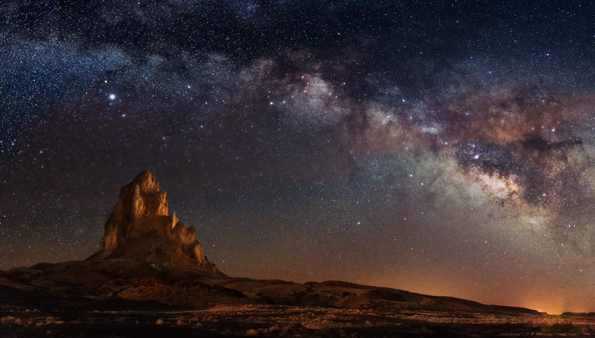 Arizona, Utah, Milky Way, Agathla Peak