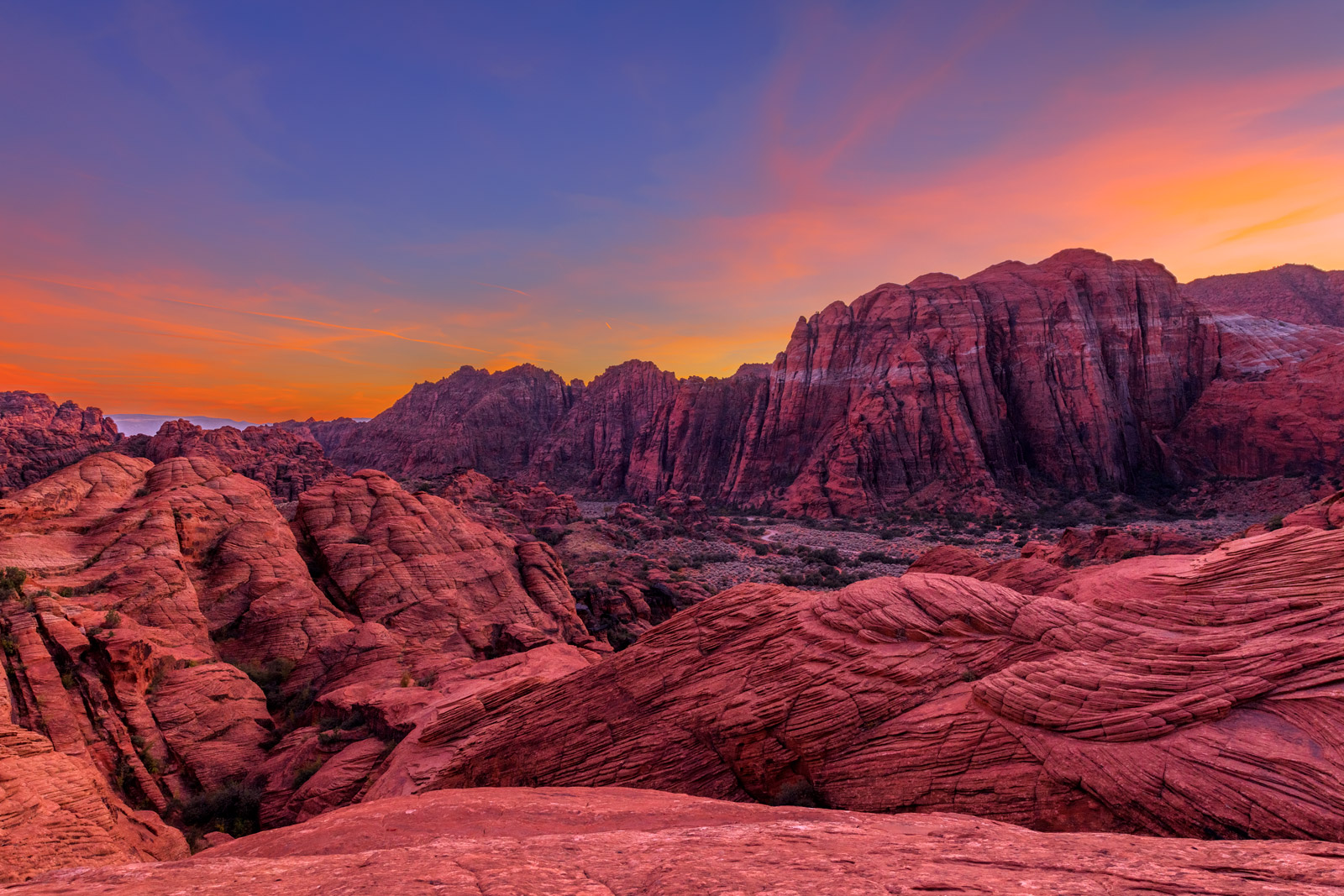 Utah, Snow Canyon, Sunset, Red Rock