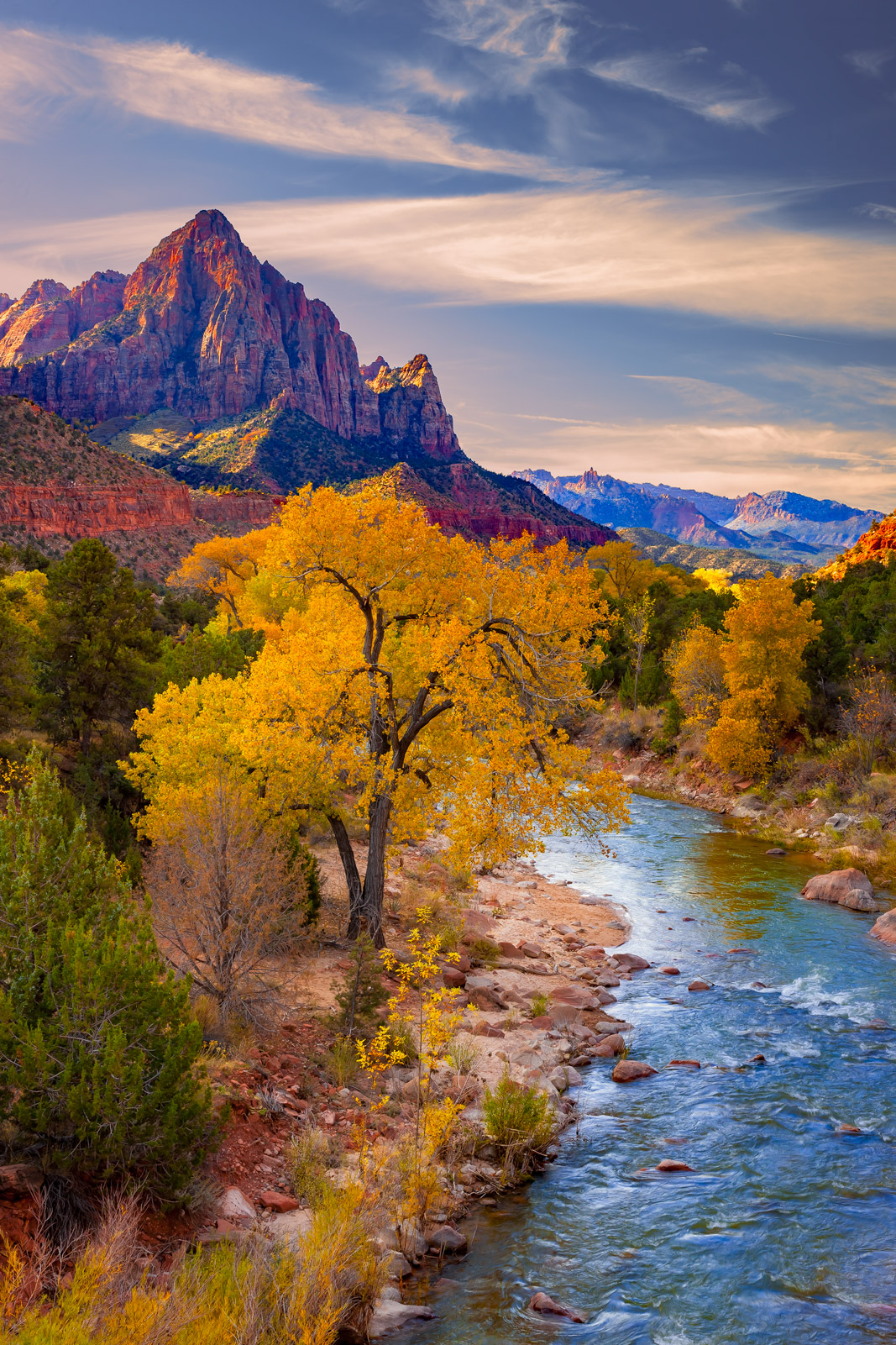 Utah, Zion Park, The Watchman, Virgin River, Fall, limited edition, photograph, fine art, landscape, photo