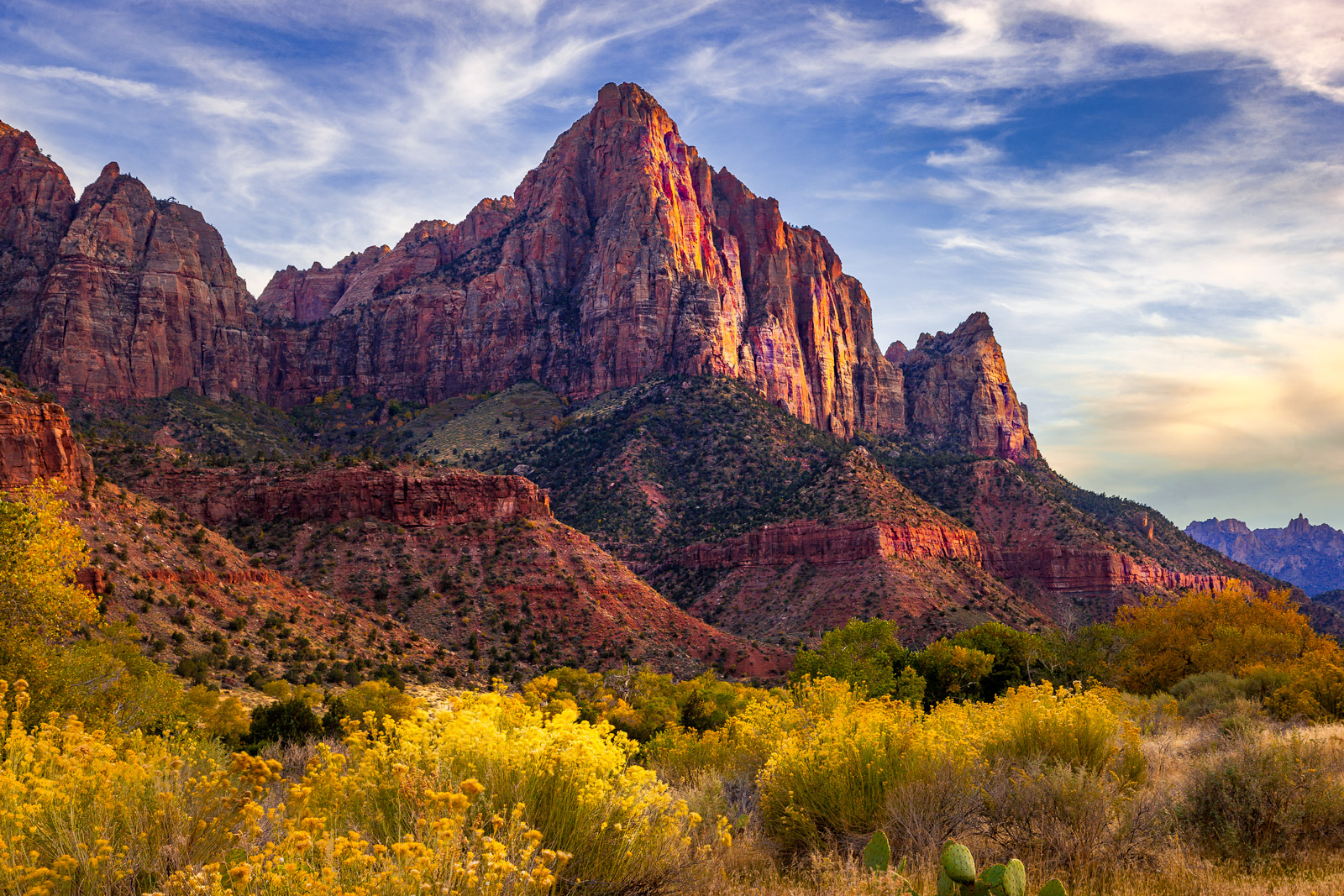 Utah, Zion Park, The Watchman, River, Mountain, photo