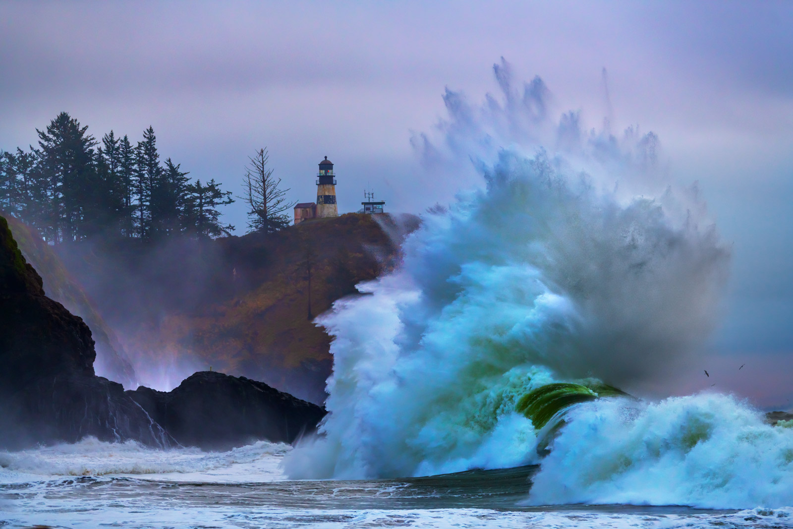 Washington, Cape Disappointment, Monster Wave, King Tides, Lighthouse