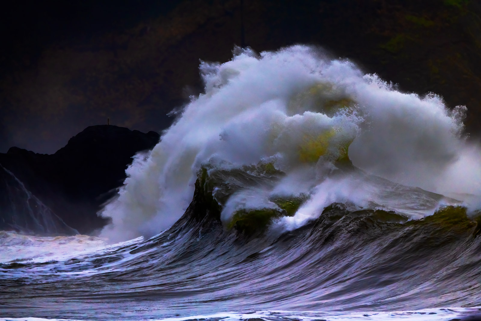 A Limited Edition, Fine Art photograph of a closeup of a violent ocean wave at Cape Disappointment, Washington during a storm...