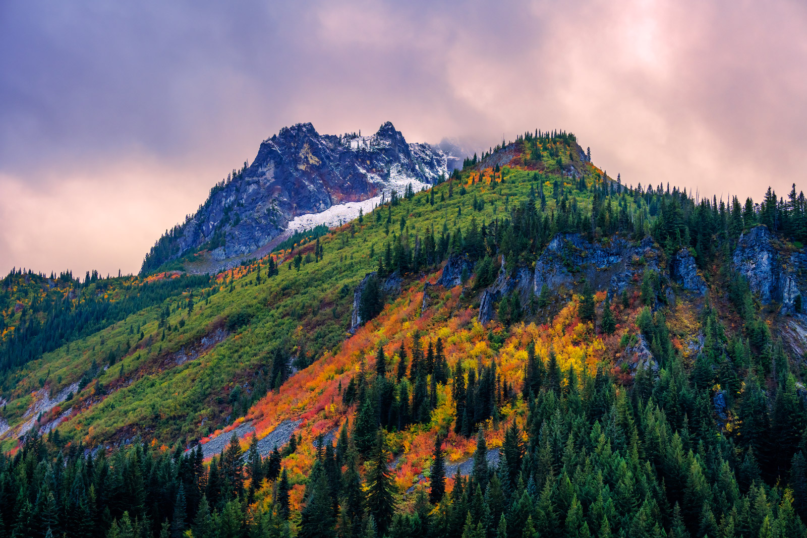 A Limited Edition, Fine Art photograph of Stevens Canyon with fall color in Washington. Available as a Fine Art print, Metal...