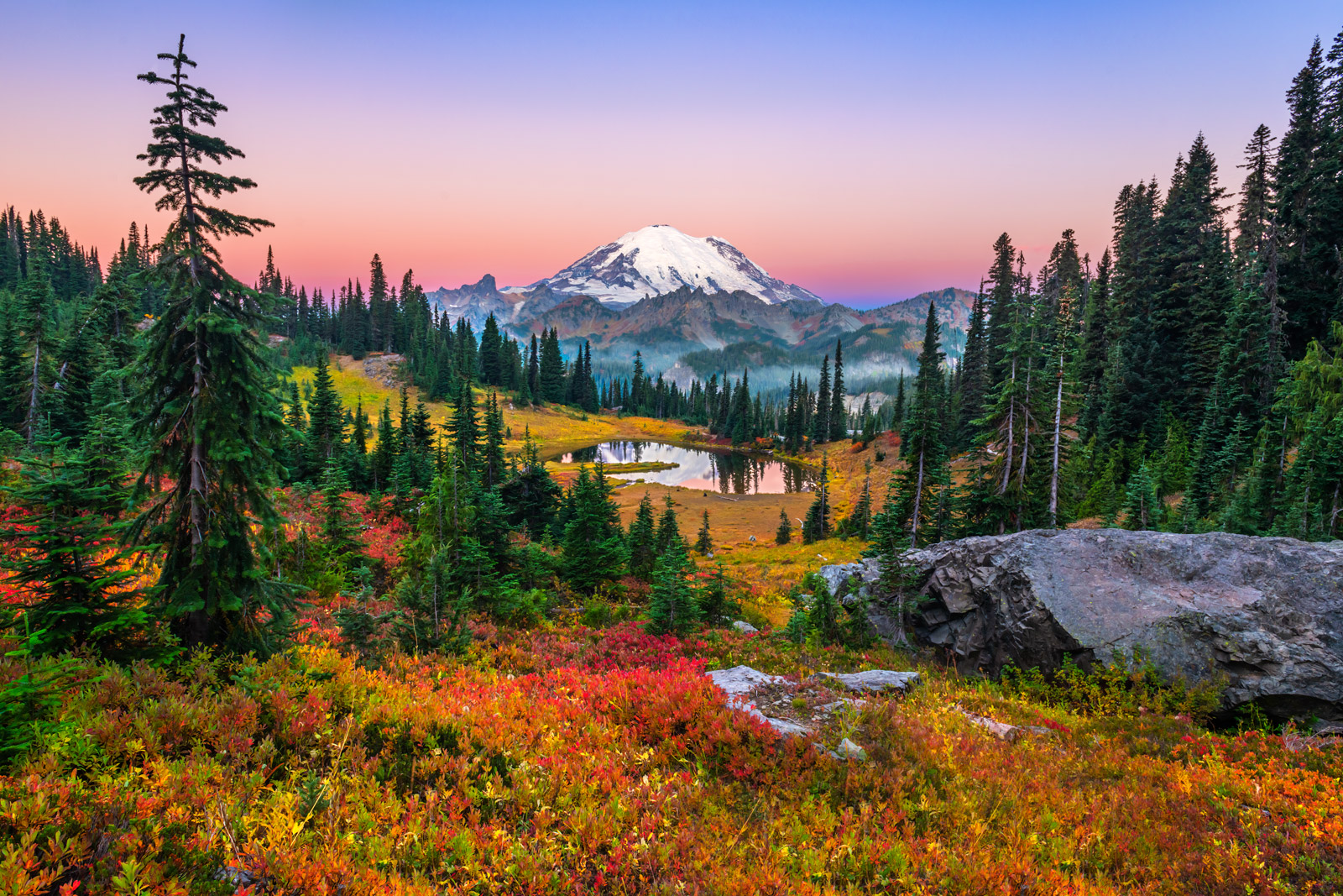 A Limited Edition, Fine Art photograph of early morning at Tipsoo Lake with fall color in front of Mount Rainier in Washington...