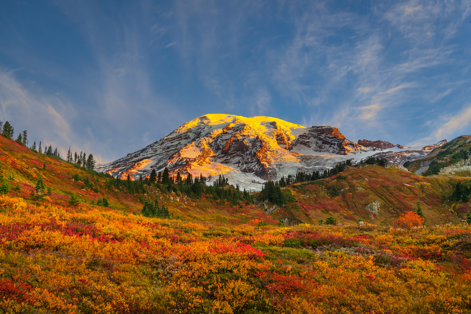 A Limited Edition, Fine Art photograph of brilliant orange and red fall colors in the field in front of Mount Rainier in Washington...