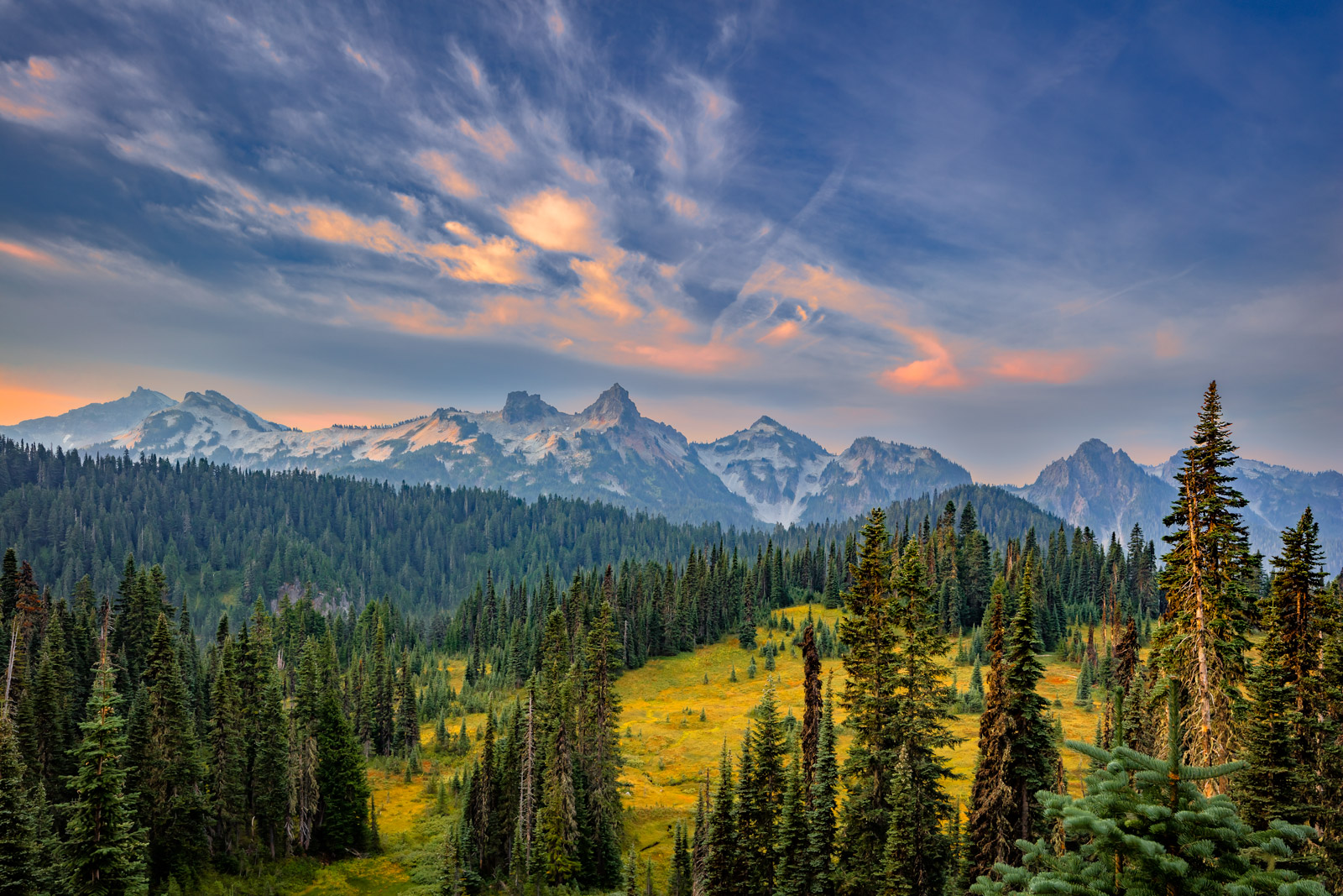 A Limited Edition, Fine Art photograph of a cool sunrise over the mountains of the Tatoosh Range at Mount Rainier National Park...