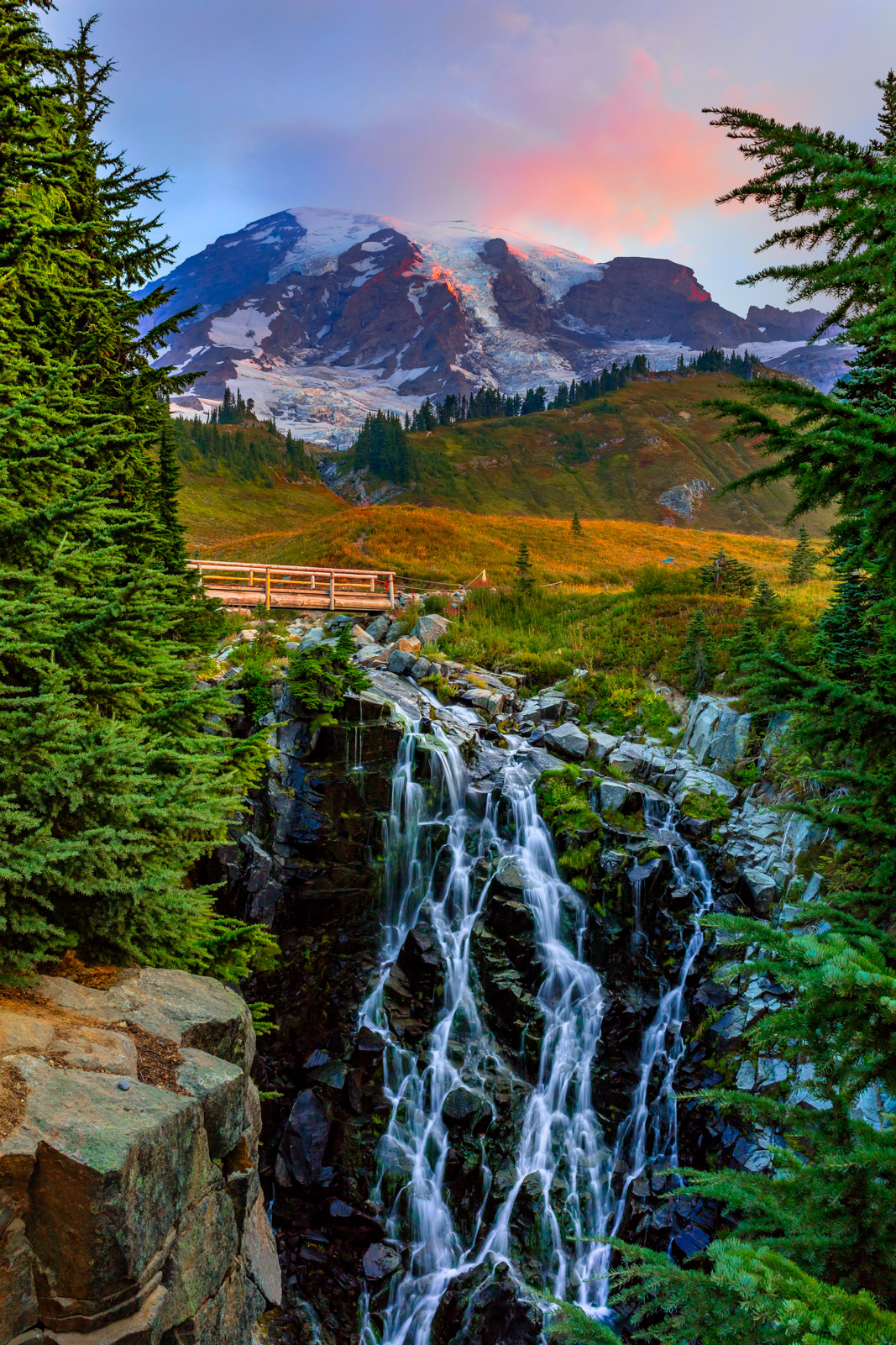 Washington, Mount Rainier, Mountain, Sunrise, Myrtle Falls