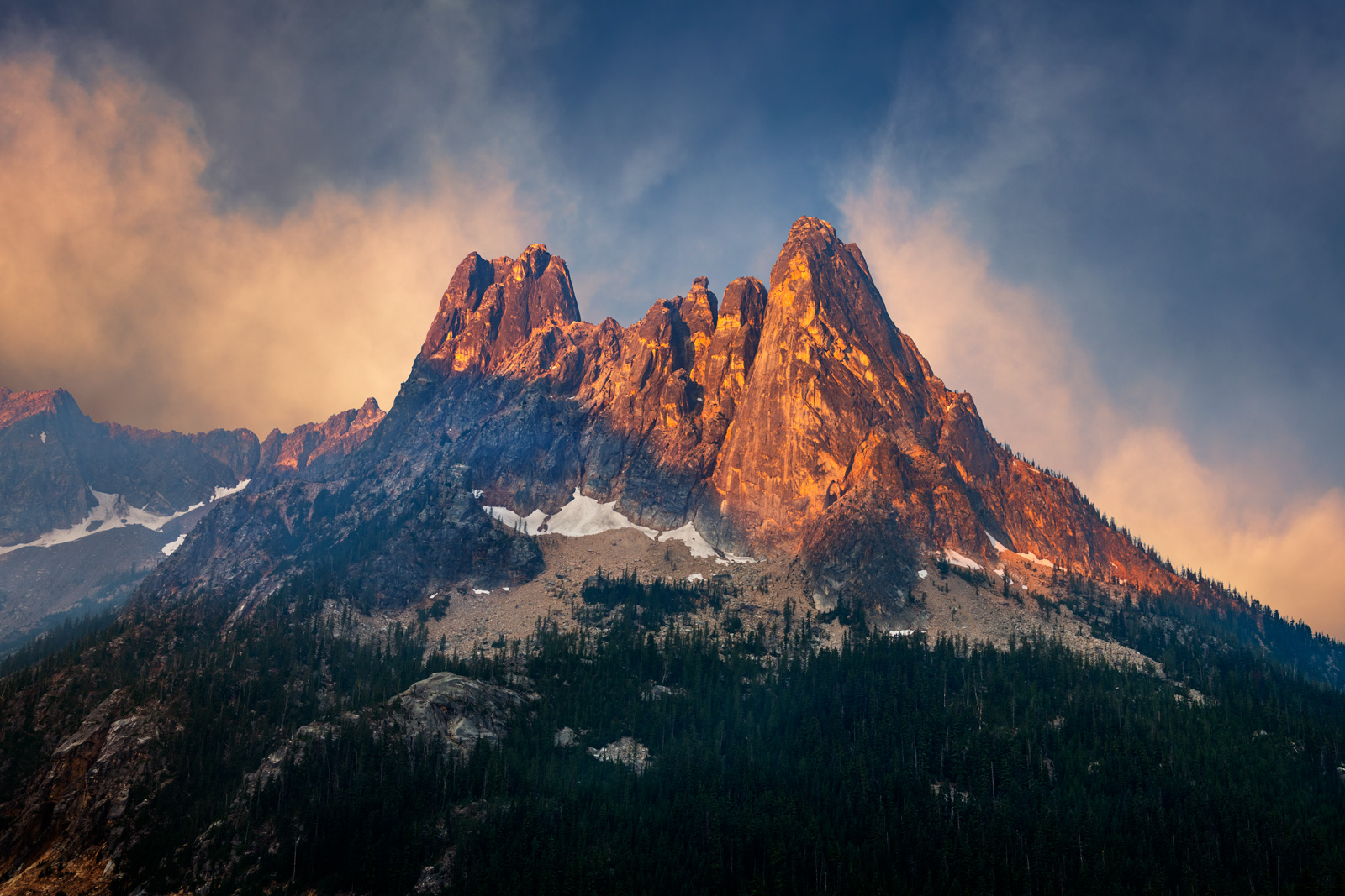 A Limited Edition, Fine Art photograph of sunrise light on Liberty Bell Mountain in North Cascade National Park in Washington...