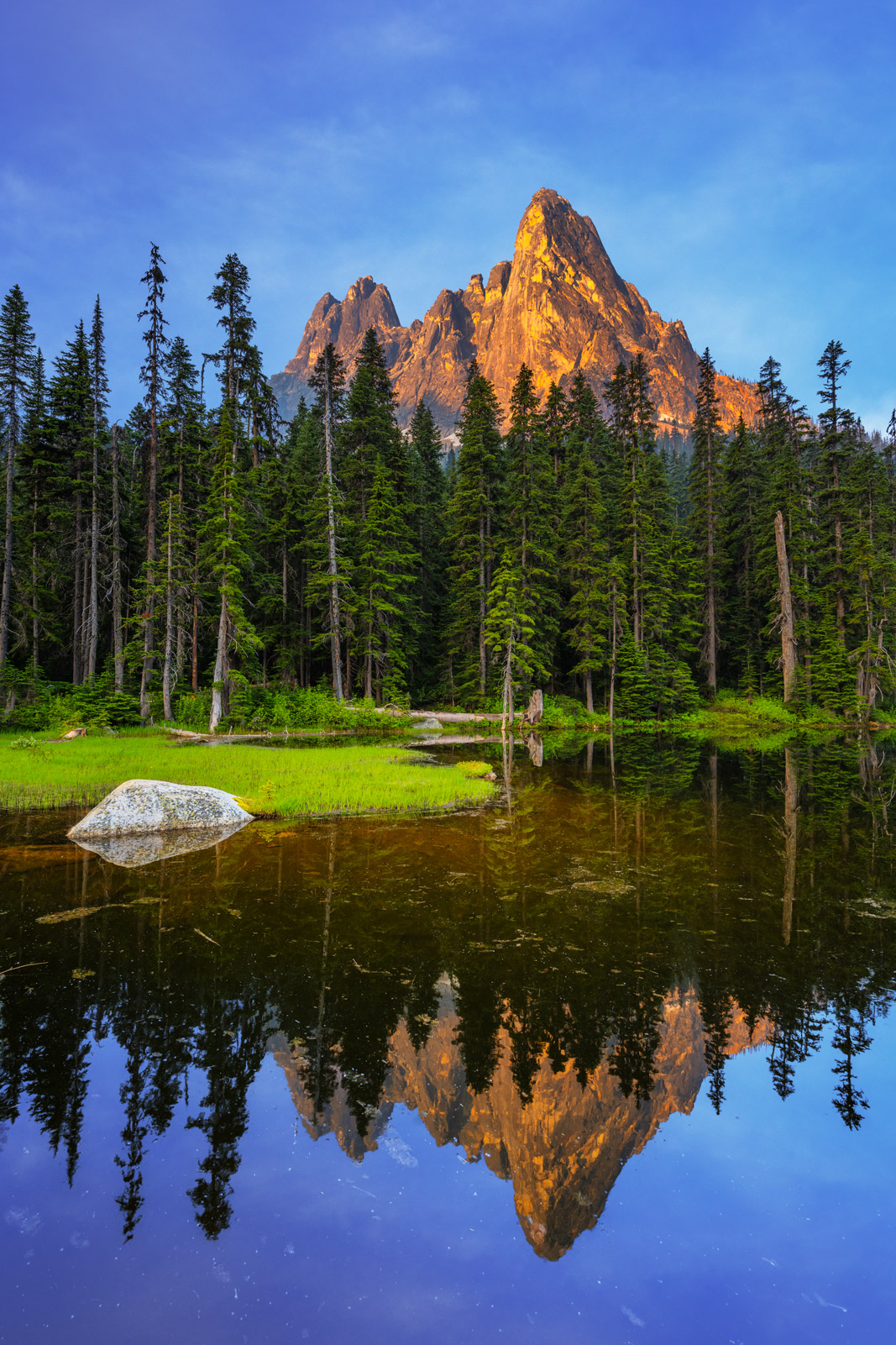 A Limited Edition, Fine Art photograph of a reflection of Liberty Bell Mountain in North Cascade National Park in Washington....