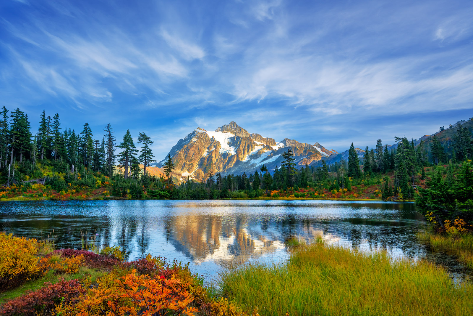 A Limited Edition, Fine Art photograph of Picture Lake and Mount Shuksan during the fall in North Cascade National Park in Washington...