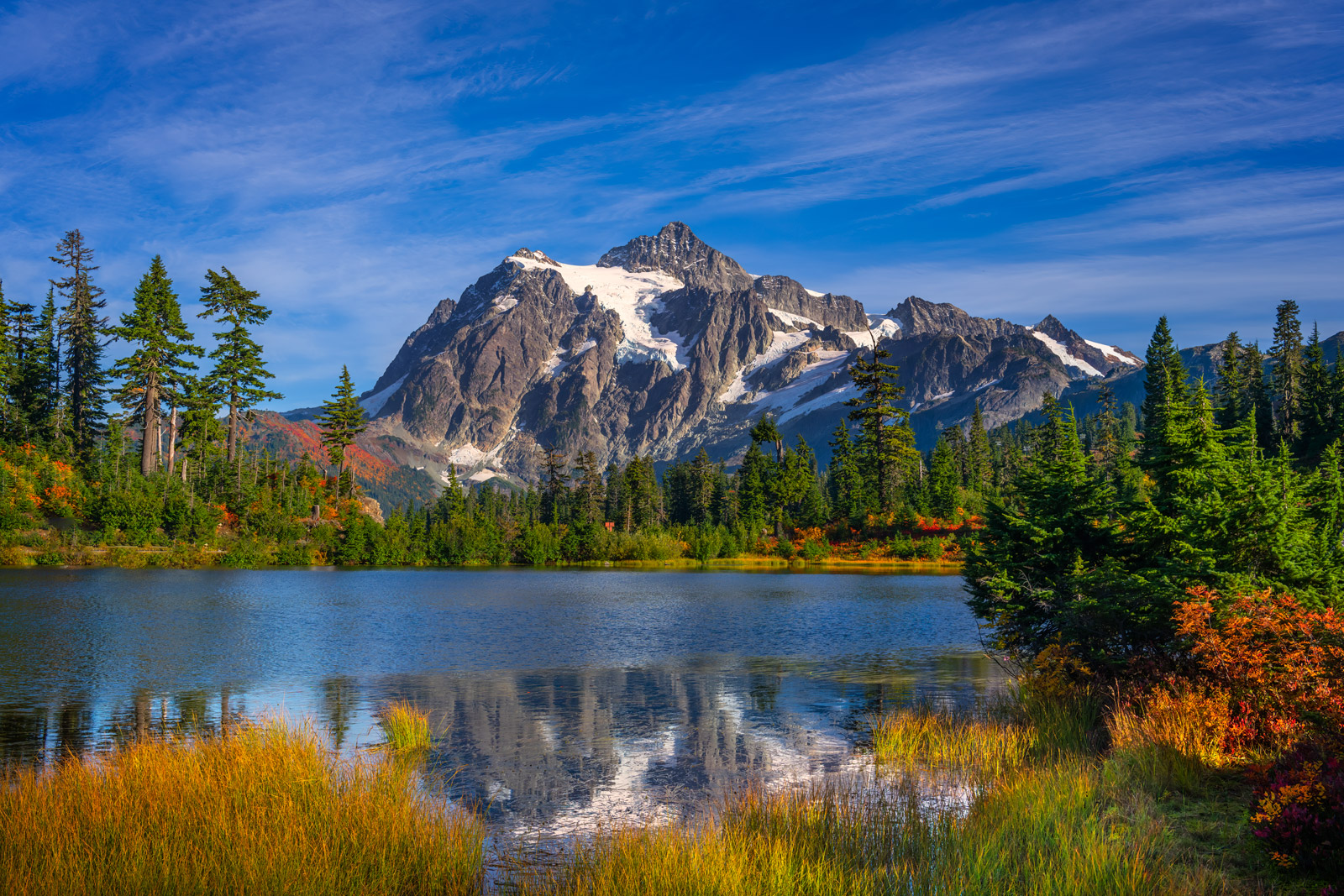 A Limited Edition, Fine Art photograph of Mount Shuksan behind Picture Lake in North Cascade National Park in Washington. Available...