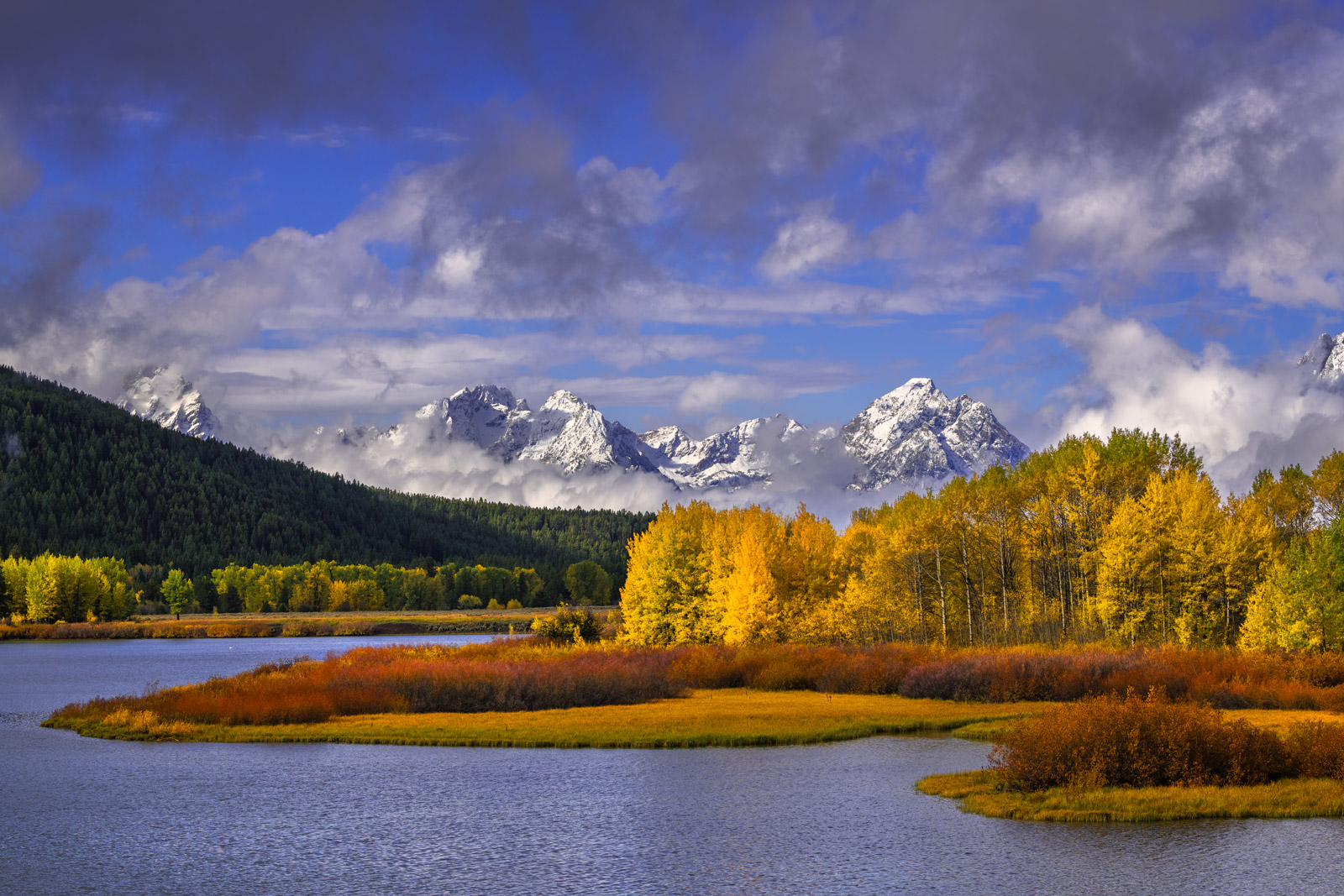 Wyoming, Grand Teton, National Park, Snake River, Fall, Winter