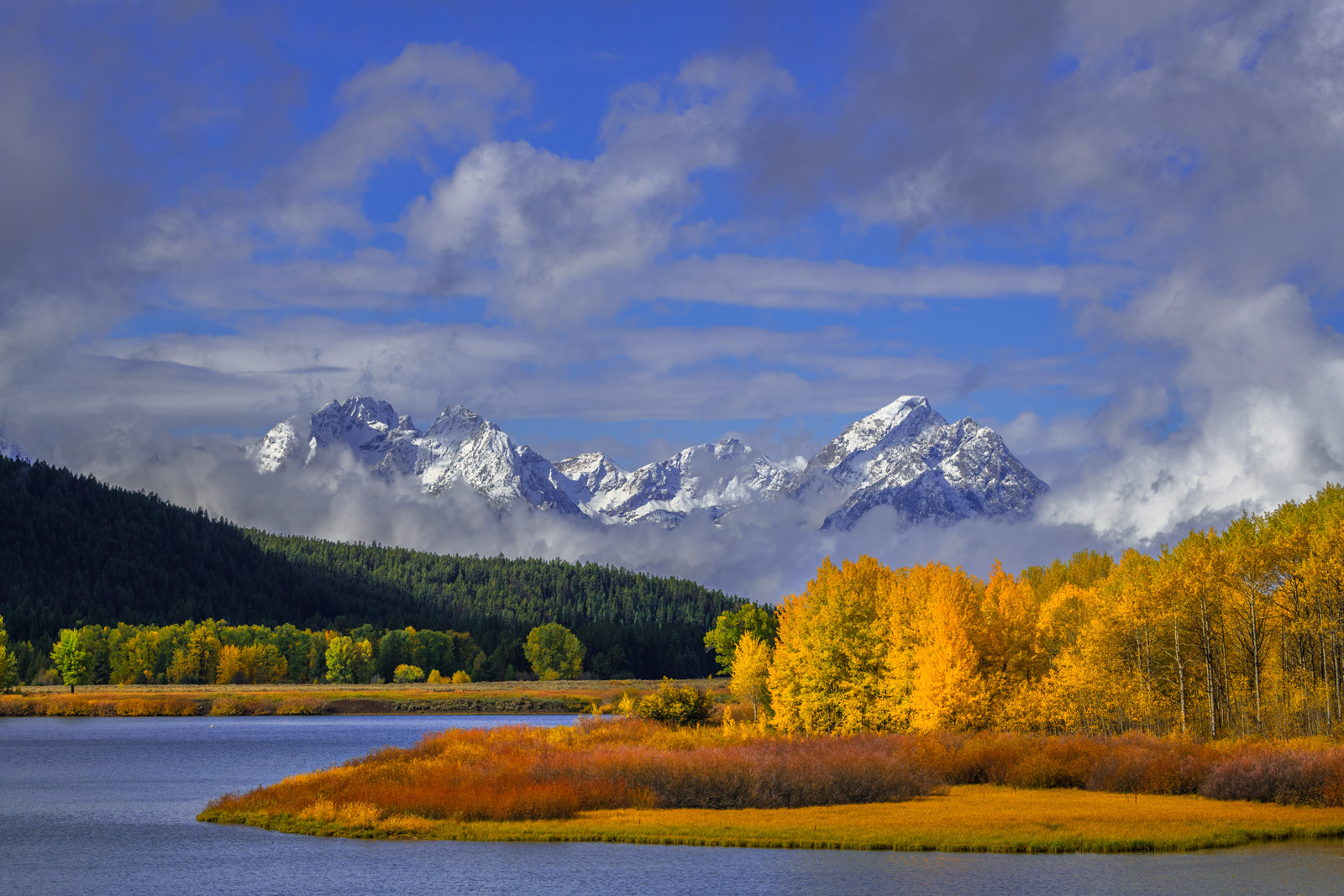 Wyoming, Grand Teton, National Park, Moran, Mountains, Snake River, Fall Colors, Fall, Snowstorm, limited edition, photograph, fine art, landscape. oxbow bend, photo