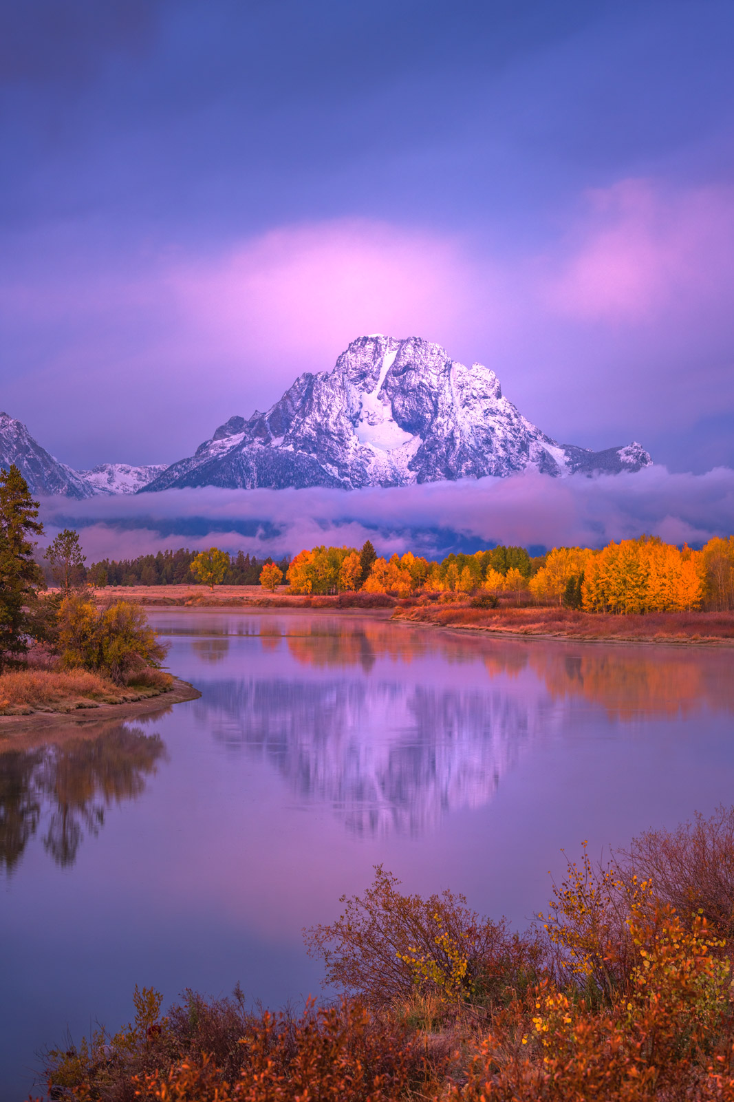 Wyoming, Grand Teton, National Park, Sunrise, Owbox, Bend, Snake River, Mount, Moran, photo