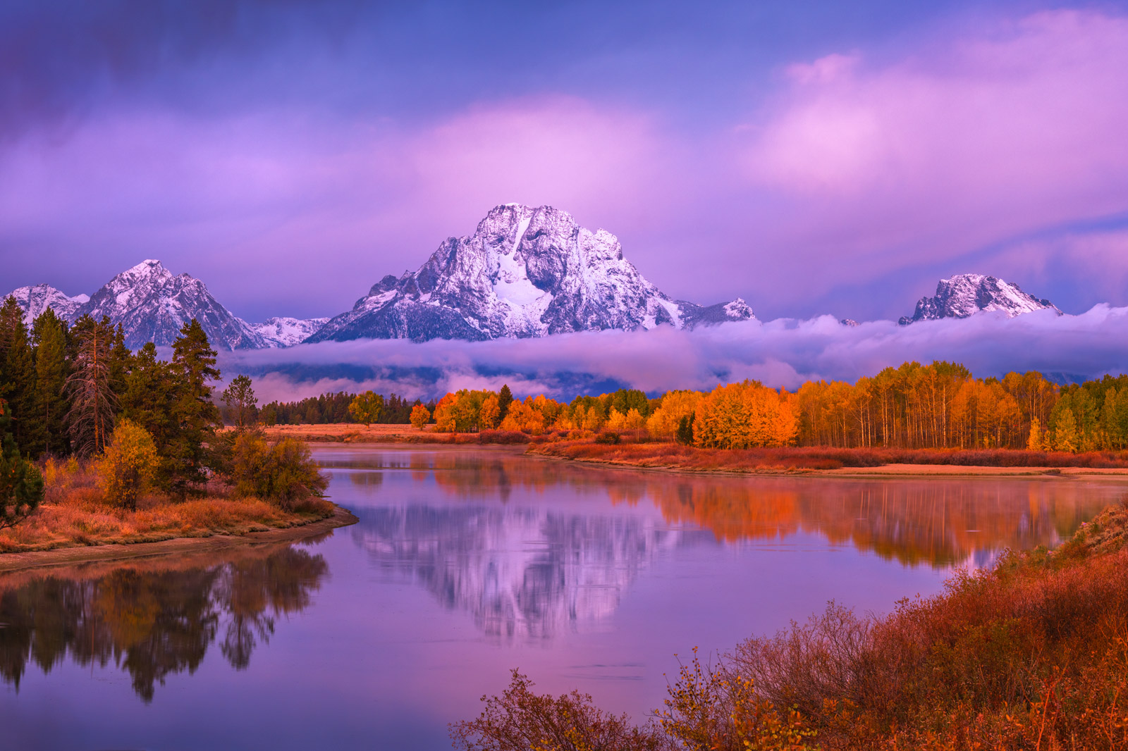 Wyoming, Grand Teton, National Park, Fall, Color, Snowstorm, Mountains, Oxbow Bend, Snake River