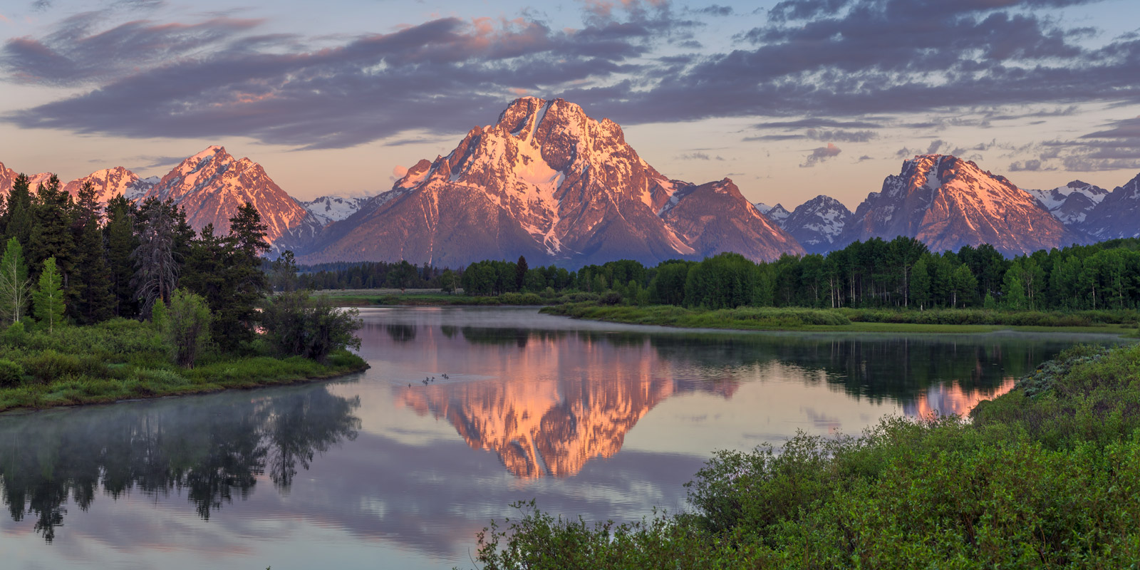 A Limited Edition, Fine Art photograph of Mount Moran reflecting in the Snake River at Oxbow Bend at Grand Teton National Park...