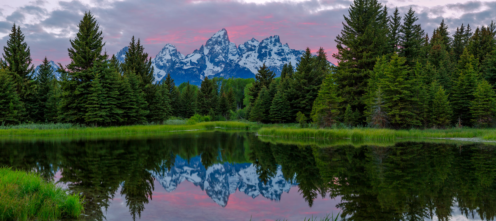 A Limited Edition, Fine Art photograph of a beautiful sunset at the beaver ponds of Schwabacher's Landing at Grand Tetons National...