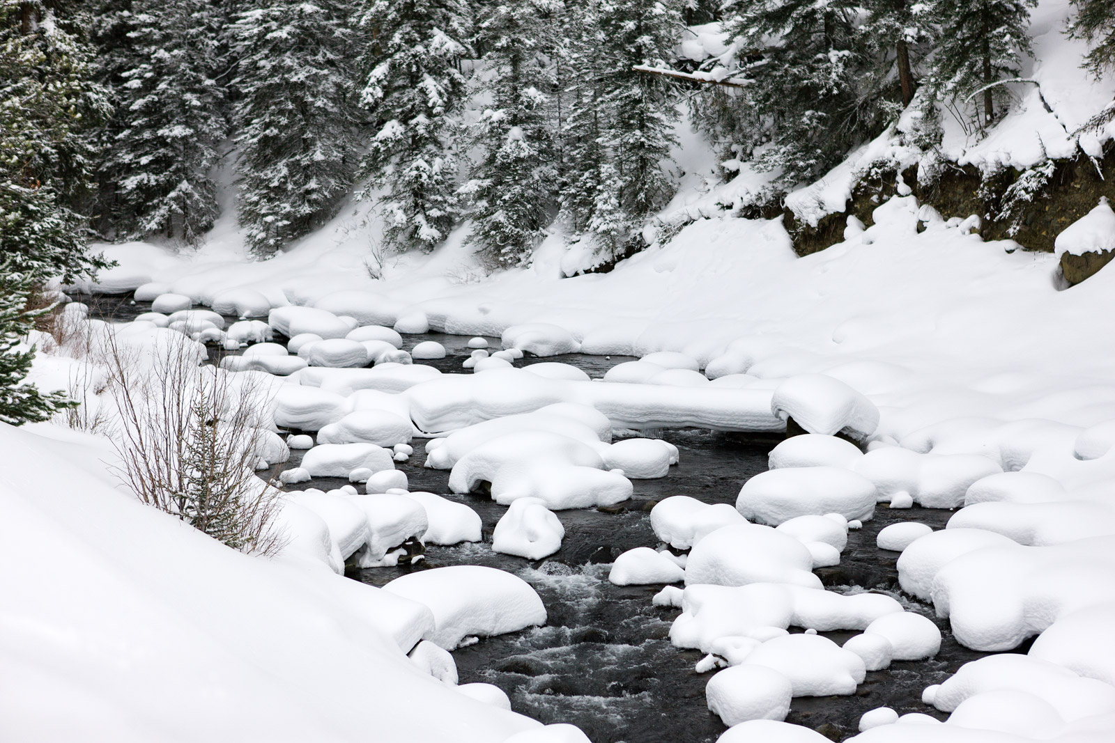 Wyoming, Yellowstone, River, Snow, Pillows, Winter, Soda Butte, Creek, , photo